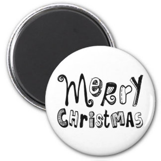 Merry Christmas - black and white Text Design Magnet