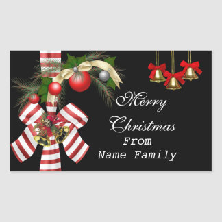 Merry Christmas Black Balls Gold Red Xmas Party Rectangular Sticker