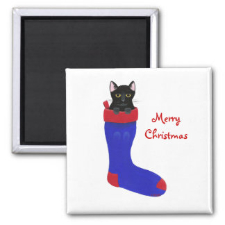 Merry Christmas, Black Cat in stocking magnets