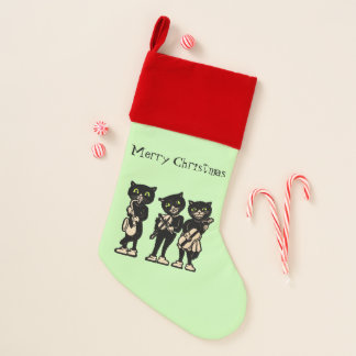 Merry Christmas Black Cat Musicians Instruments Christmas Stocking