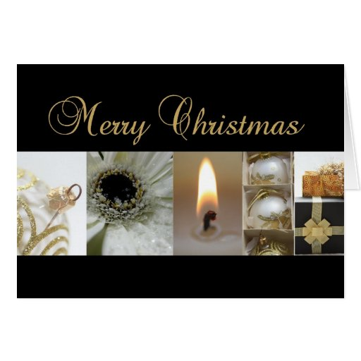 Merry Christmas  black gold christmas collage Greeting Card