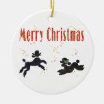 Merry Christmas Black Poodles n Stars Ornament