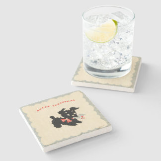 Merry Christmas Black Scotty Dog Stone Coaster