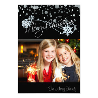 Merry Christmas Black Silver Snow Foil Card Photo