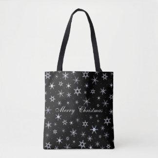 Merry Christmas Black Snowflakes Tote Bag