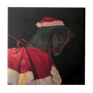 Merry Christmas Black Stallion Horse in Santa Hat Tiles