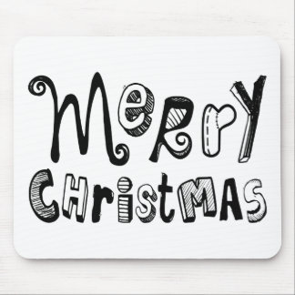 Merry Christmas - black Text Design Mouse Pad