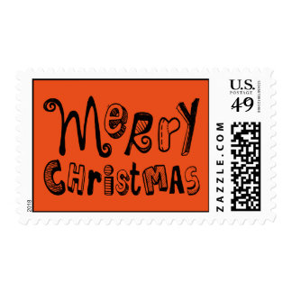 Merry Christmas - black Text Design Postage