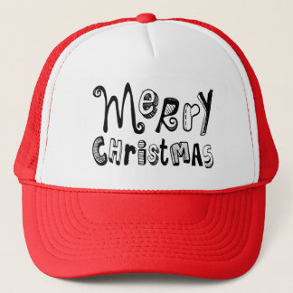 Merry Christmas - black Text Design Trucker Hat