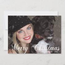 Merry Christmas Black White Snowflakes | PHOTO Holiday Card