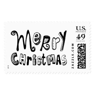 Merry Christmas Black White Text Design Stamp