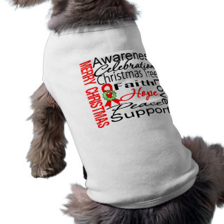 Merry Christmas Blood Cancer Ribbon Collage Doggie Tee Shirt