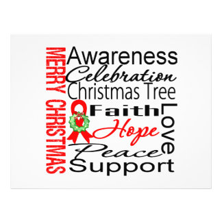 """Merry Christmas Blood Cancer Ribbon Collage 8.5"""" X 11"""" Flyer"""