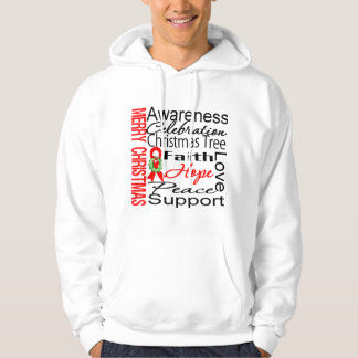 Merry Christmas Blood Cancer Ribbon Collage Hoodie