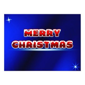 Merry Christmas (blue background) ~ 6.5x8.75 Paper Invitation Card