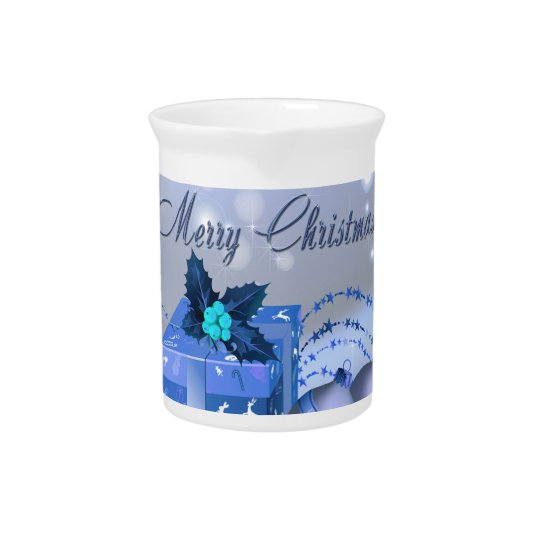 Merry Christmas Blue Baubles Beverage Pitchers