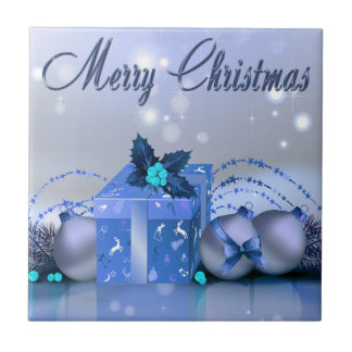 Merry Christmas Blue Baubles Ceramic Tile