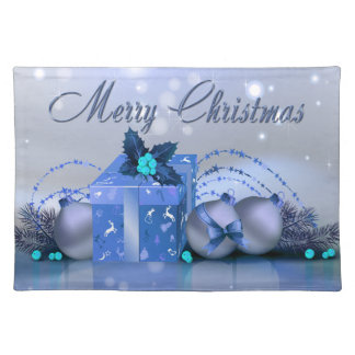 Merry Christmas Blue Baubles Cloth Placemat