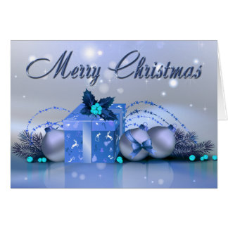 Merry Christmas Blue Baubles Greeting Card