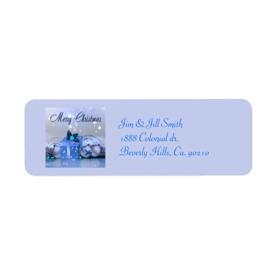 Merry Christmas Blue Baubles Label