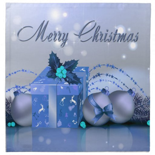 Merry Christmas Blue Baubles Napkin