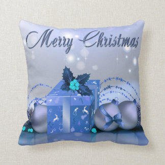 Merry Christmas Blue Baubles Throw Pillow