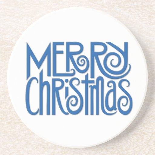 Merry Christmas blue Coaster