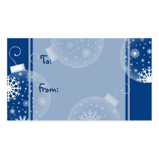 Merry Christmas Blue Decorations Gift Tags Business Cards