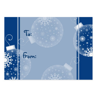Merry Christmas Blue Decorations Gift Tags Business Card Template