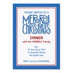"Merry Christmas blue Dinner Invitation 5"" X 7"" Invitation Card"