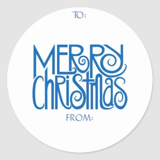 Merry Christmas Blue Gift Tag Sticker sticker