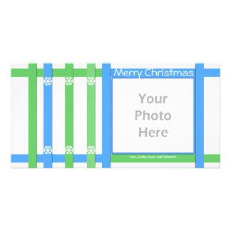Merry Christmas Blue Green White Photo Card