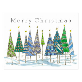 Merry Christmas Blue Holiday Trees Drawing Postcard