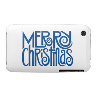 Merry Christmas blue iPhone 3G 3GS Case iPhone 3 Cases