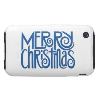 Merry Christmas blue iPhone 3G 3GS Tough Case Tough iPhone 3 Cases