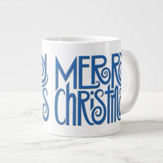 Merry Christmas blue Jumbo Mug