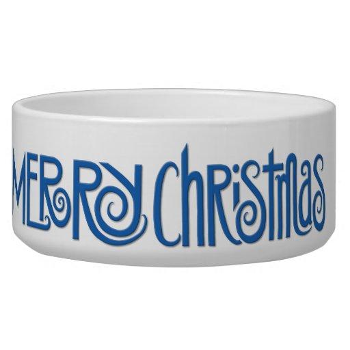 Merry Christmas blue Large Pet Bowl