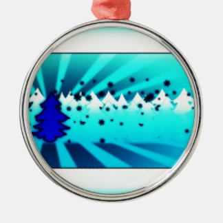 Merry Christmas - Blue Metal Ornament