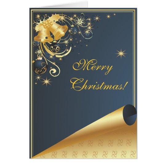 Merry Christmas Blue Modern Christmas Card