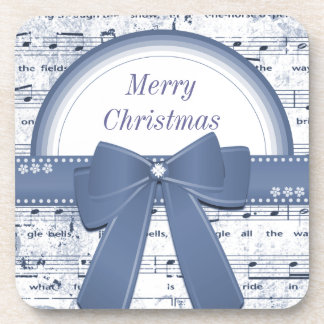 Merry Christmas blue music with ribbon coaster