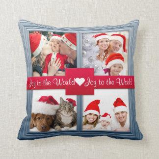 Merry Christmas Blue Photo Collage | Custom Throw Pillow