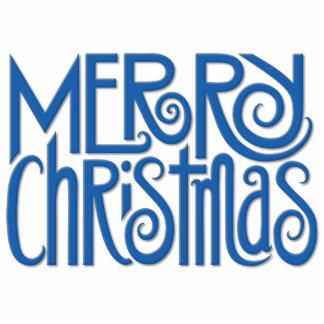Merry Christmas blue Photo Sculpture