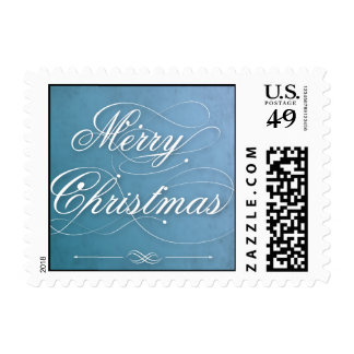 Merry Christmas Blue Postage