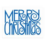 Merry Christmas blue Postcard