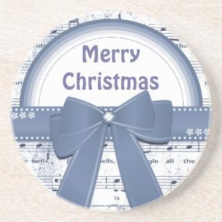 Merry Christmas blue ribbon notes coaster