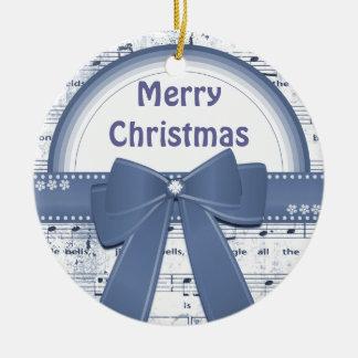 Merry Christmas blue ribbon notes ornament