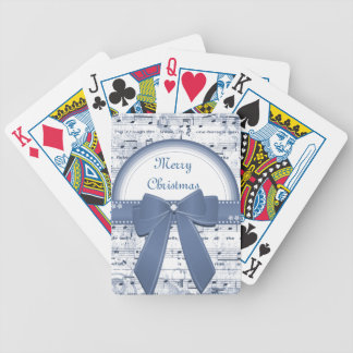 Merry Christmas blue ribbon notes playing cards