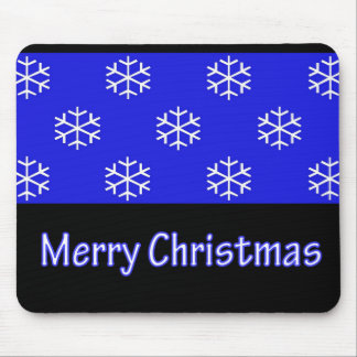 Merry Christmas Blue Snow Flake Mouse Pad