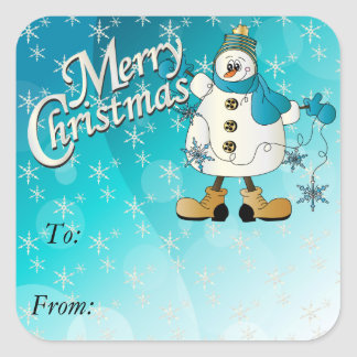 Merry Christmas Blue Snowflake Snowman Square Sticker
