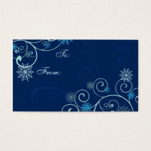 merry christmas blue snowflakes gift tags - Christmas Blue